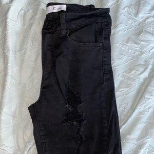 KanCan size 9 black distress jeans
